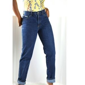 Calvin Klein 90s Mom Jeans High Waisted Dark Wash
